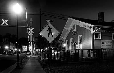 Bryson City Depot At Night In Black And White Poster