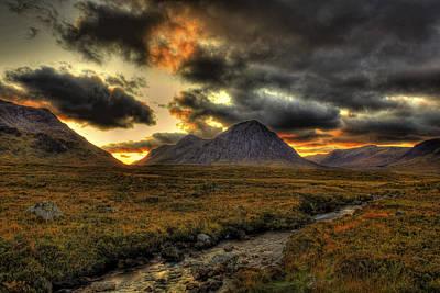 Buachaille Etive Mor Sunset-glencoe Poster