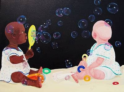 Bubble Babies Poster by Susan Roberts