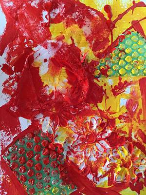 Poster featuring the painting Bubble Wrap Plus by Karen bertha Calderon
