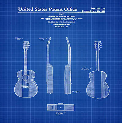 Buck Owens Guitar Patent 1972 Blue Print Poster by Bill Cannon