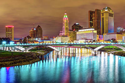 Poster featuring the photograph Buckeye Skyline - Columbus At Night On The Water by Gregory Ballos