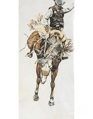 Bucking Horse Facing Center Poster by Don Langeneckert