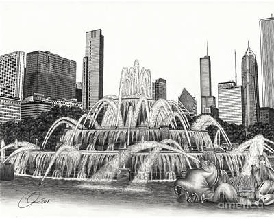 Buckingham Fountain Drawing Poster