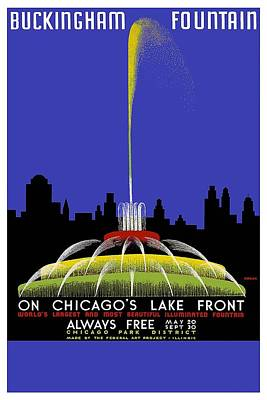 Buckingham Fountain Vintage Travel Poster Poster
