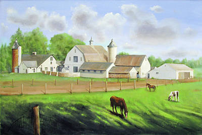 Poster featuring the painting Buckingham Horse Farm by Oz Freedgood