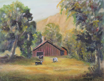 Poster featuring the painting Bucks County Pa Barn by Katalin Luczay
