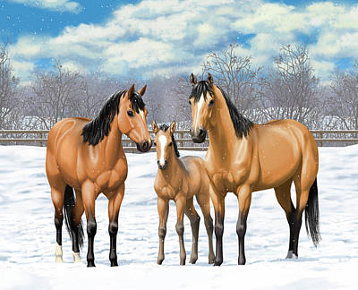 Buckskin Horses In Winter Pasture Poster by Crista Forest