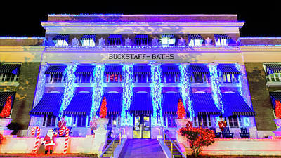 Buckstaff Baths - Christmastime Poster by Stephen Stookey