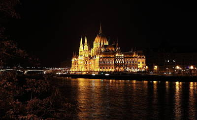 Poster featuring the digital art Budapest - Parliament by Pat Speirs