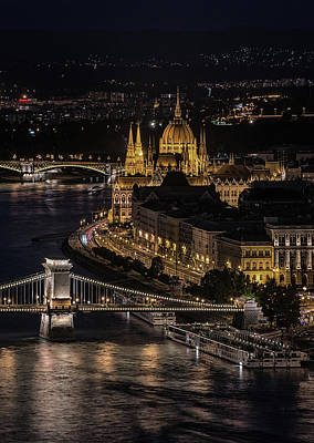 Poster featuring the photograph Budapest View At Night by Jaroslaw Blaminsky