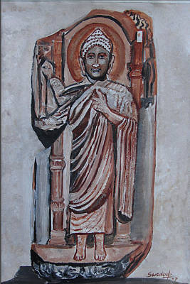 Poster featuring the painting Buddha 9 by Anand Swaroop Manchiraju