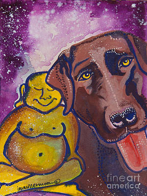 Buddha And The Divine Chocolate Lab No. 1329 Poster