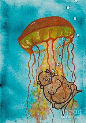 Buddha And The Divine Jellyfish No. 2274 Poster by Ilisa Millermoon