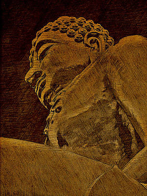 Buddha At The Golden Triangle - Sepia Sketch Poster by Fini Gamundi