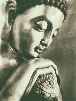 Buddha Close Sepia Poster