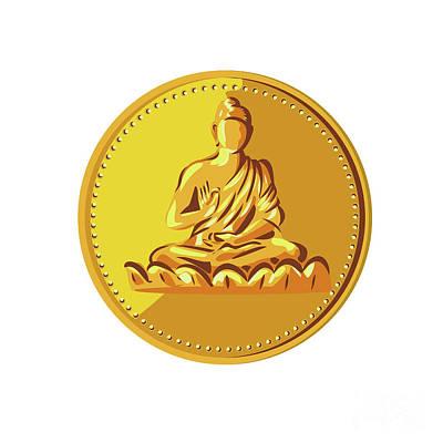 Buddha Gold Coin Medallion Retro Poster by Aloysius Patrimonio