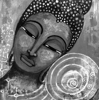 Poster featuring the mixed media Buddha In Grey Tones by Prerna Poojara