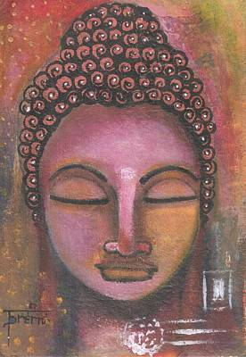 Poster featuring the mixed media Buddha In Shades Of Purple by Prerna Poojara