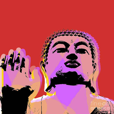 Poster featuring the digital art Buddha Pop Art  by Jean luc Comperat