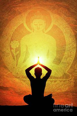Buddha Prayer Poster by Tim Gainey