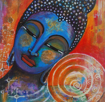 Poster featuring the painting Buddha by Prerna Poojara