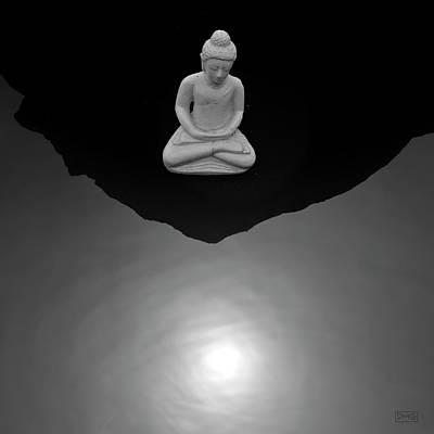 Buddha V  Bw Poster by David Gordon