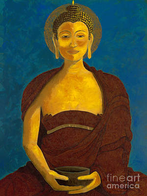 Buddha With Begging Bowl Poster by Kirsten Throneberry