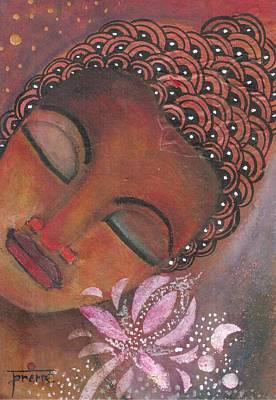 Poster featuring the painting Buddha With Pink Lotus by Prerna Poojara