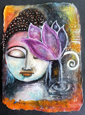 Poster featuring the mixed media Buddha With Torn Edge Paper Look by Prerna Poojara