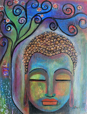 Poster featuring the painting Buddha With Tree Of Life by Prerna Poojara