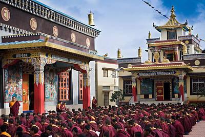 Buddhist Monastery In Full Attendance Poster