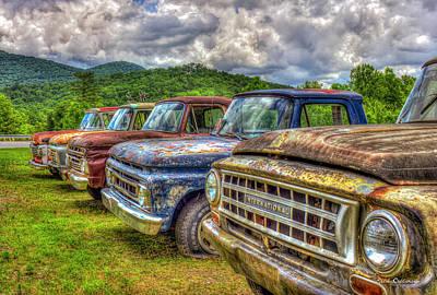 Buddies The Line Up Antique Truck Art Poster by Reid Callaway