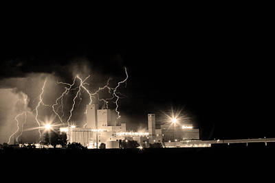 Budweiser Lightning Thunderstorm Moving Out Bw Sepia Poster