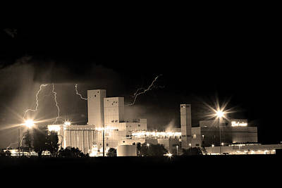 Budwesier Brewery Lightning Thunderstorm Image 3918  Bw Sepia Im Poster