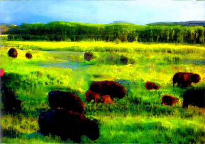 Poster featuring the painting Buffalo Coming Home by FeatherStone Studio Julie A Miller