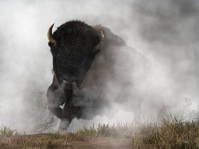 Poster featuring the digital art Buffalo Emerging From The Fog by Daniel Eskridge