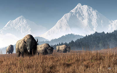 Poster featuring the digital art Buffalo Grazing by Daniel Eskridge