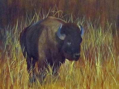 Poster featuring the painting Buffalo Grazing by Roseann Gilmore