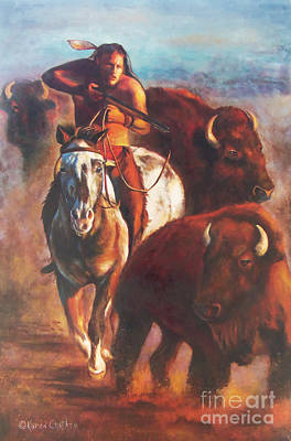 Poster featuring the painting Buffalo Hunt by Karen Kennedy Chatham