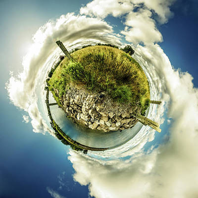 Buffalo Outer Harbor Sunrise - Tiny Planet Poster by Chris Bordeleau