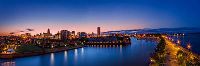 Buffalo Skyline Twilight - Panorama Poster by Chris Bordeleau