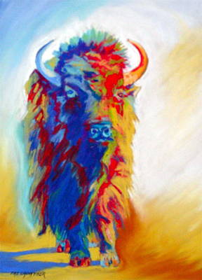 Poster featuring the pastel Buffalo Two by Pat Crowther