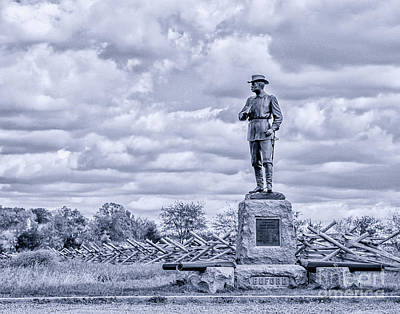 Buford Statue Gettysburg Toned Poster by Randy Steele
