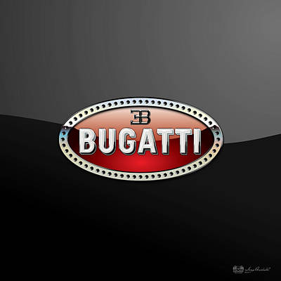 Bugatti - 3 D Badge On Black Poster by Serge Averbukh