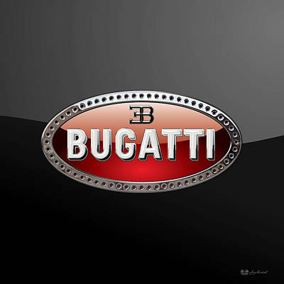 Bugatti - 3d Badge On Black Poster by Serge Averbukh