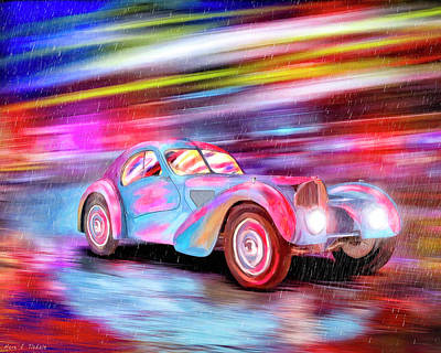 Poster featuring the mixed media Bugatti In The Rain - Vintage Dreams by Mark Tisdale