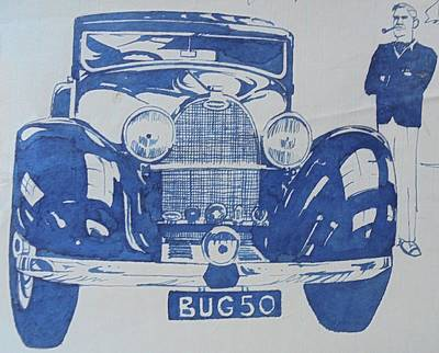 Poster featuring the drawing Bugatti by Mike Jeffries