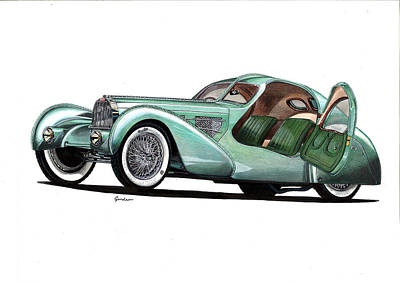 Bugatti Type 57 Aerolithe - Electron Coupe Poster by Tomasz Boguslawski