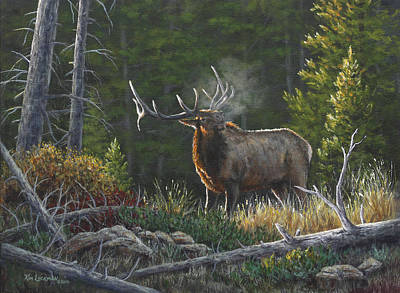 Poster featuring the painting Bugling Bull by Kim Lockman